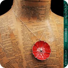 Bright Red Blossom Upcycled Tin Necklace