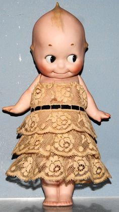"Antique Doll Kewpie Bisque Germany Rose O'Neill Lace Rose Dress LARGE 10 ½"" #Kewpie"