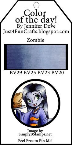 Just4FunCrafts and DoveArt Studios: Color of the Day 8 - Zombie