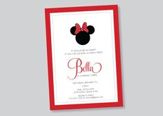 minnie mouse birthday party invitation  custom by scallopedacorn, $15.00