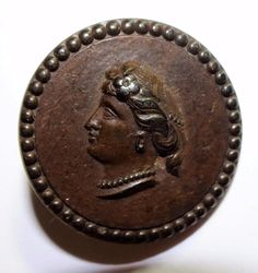 Antique Button Goodyear N.R.Co. Hard Rubber Woman's Head Medium 25.5mm