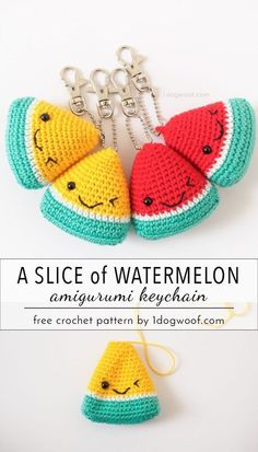 Gifts For Teacher Adorable watermelon amigurumi keychain. Perfect for stocking stuffers and teache. Watermelon Amigurumi Keychain Summer Stocking Stuffer - One Dog Woof Wassermelone Amigurumi Keychain Summer Stocking Stuffer - Emily Lazar - Willkommen bei Crochet Keychain Pattern, Crochet Patterns Amigurumi, Crochet Dolls, Knitting Patterns, Knitting Ideas, Crochet Food, Crochet Gifts, Cute Crochet, Crochet Baby