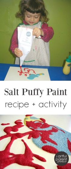 This salt puffy paint recipe is as fun for kids to make as it is for them to paint with. A great kids art activity!