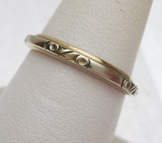 14k Keepsake Carved Wedding Band Two Tone by KlinesJewelry on Etsy, $175.00