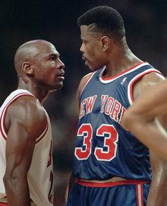 Michael Jordan and Patrick Ewing exchange angry glares during a heated playoff game. Jordan always owned the Knicks, Patrick Ewing, Pat Ewing, Love And Basketball, Basketball Legends, Sports Basketball, Basketball Players, Basketball Jones, Jordan Basketball, Larry Bird