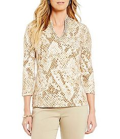 Ruby Rd. 3/4 Sleeve Embellished Funnel-Neck Printed Knit Top