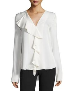 Jastrid+LS+Modern+Georgette+Ruffle+Top+by+Theory+at+Neiman+Marcus.