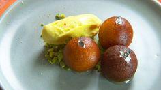 Gulab jamun with saffron yoghurt ice-cream