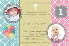 1st birthday and christeningbaptism invitation sample baptism awesome personalised invitations emailed to you within 24hrs combined baptism and 1st birthday party invitation for twins stopboris Image collections