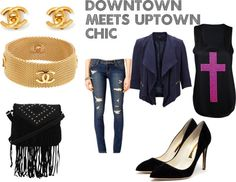 Downtown meets Uptown chic by pinkdollstyle featuring chanel bangle Sleeveless top ebay.co.uk   SELECTED evening jacket $100 - selected.com Forever 21 skinny leg jeans forever21.com Rupert Sanderson high heel shoes rupertsanderson.com...
