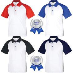 Men's Raglan T-Shirt Short Sleeve Polo Collar Piqué Shirts Baseball Classic New