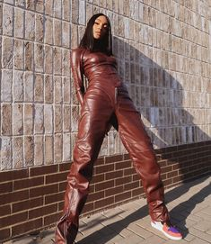 "Jourdan Dunn on Instagram: ""🤎🤎🤎"" Jourdan Dunn, 1 Rose, Leather Pants, Street Style, Silhouette, Photo And Video, Womens Fashion, Inspiration, Instagram"