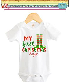 My First Christmas Cute Elf Legs Personalized with by Sweetteez1, $8.00