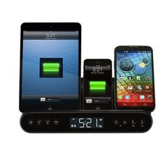Capello Clock Radio and Universal Charging Stand - Black