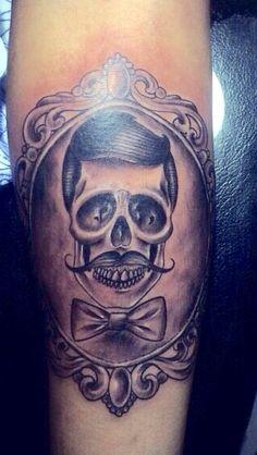 3rd ink. Filigree frame | skull | dapper | blackandgrey | tattoo | gentleman