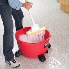 Shop Vacuum Mop Bucket-- The dust collection section of your shop vacuum makes a slick-rolling bucket for mop water. You can load it with sudsy water and work fast and effectively—no lugging a heavy bucket around ever again. And when you're done mopping, just roll it to the sink or floor drain to empty