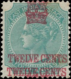 Straits Settlements 1867. Indian Stamps Surcharged. Twelve Cents on Four annas, double overprint. [SG 7a]