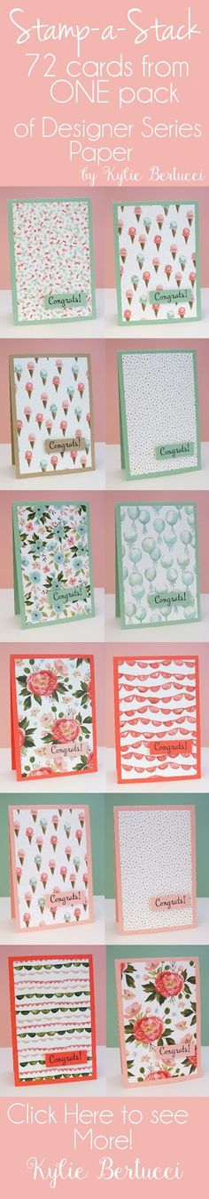 handmade notecard set ... patterned papers do all of the work ... pink and mint theme .. luv them!