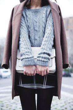 #fall #fashion / brown coat + gray knit