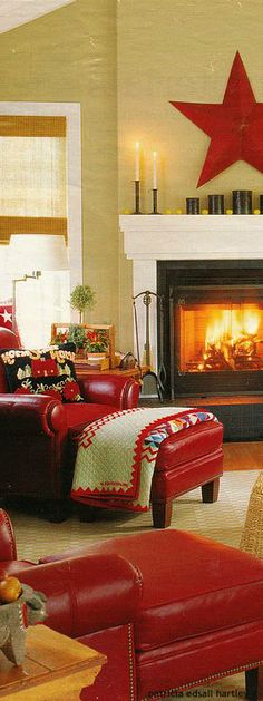paint color with white trim and black fireplace - red couch Christmas Living Rooms, Cozy Living Rooms, Home And Living, Living Room Decor, Red Couch Living Room, Paint Colors With White Trim, Deco Champetre, Black Fireplace, Fireplace Mantel