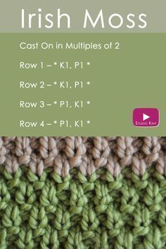 The IRISH MOSS Knit Stitch: St. Patrick's Day Knitting DIY via @StudioKnit | Easy Free Knitting Pattern