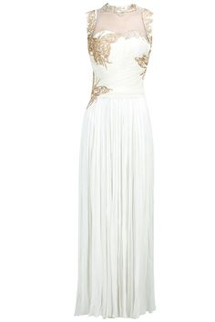 Hand embroidery straight gown.