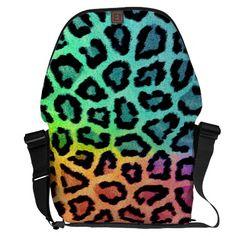 rainbow colored leopard messenger bag