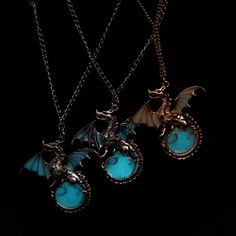 Image result for Punk Glow In The Dark Dragon Necklace