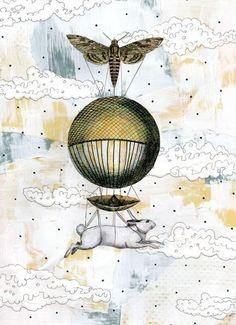 Balloon Art Print  Mixed Media Collage Art by sarahogren on Etsy, $15.00