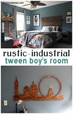Rustic-industrial Tween Boys Room w/ lots of DIY projects