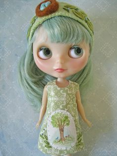 Tree mini painting Blythe dress by littledear on Etsy, $27.00