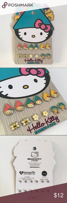 Garden Gnome Hello Kitty Earrings An exclusive 6-Pack of garden gnome style enamel earrings by Loungefly for Hello Kitty. Features Hello Kitty gnomes, bumblebees, magic mushrooms and adorable little flowers! Brand new and still in the packaging. Limited Edition, Sanrio 2011. Let me know if you want to bundle with other items and 20% Off and save on shipping! Hello Kitty Jewelry Earrings