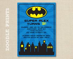 Printable Batman Super Hero Birthday Party by doodleprints on Etsy