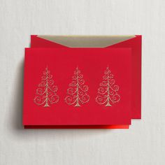 Hand Engraved Gold Scroll Trees Greeting Card: Like one's wedding invitation or calling card, one's Christmas tree should be a representation of personal style. In the case of this trio of gold, engraved varietals boasting optimal flourish, said style could only be described as impeccable.