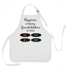 Mother's Day Apron, Grandmother Apron, Happiness is Having Grandchildren to Feed Apron, Personalized Grandmother Apron Daughter Birthday, To My Daughter, Girlfriend Birthday, Grandmother Gifts, Grandmothers, Cute Stockings, Spice Labels, Halloween Bags, Trick Or Treat Bags