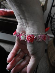 Lots of Love OOAK Tatted Lace Fiber Art Charm Bracelet with Hearts, Love,  Rose Quartz and Rubies Infused with Reiki