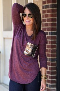 Sequin Pocket Knit {Plum}