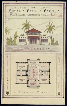 Sketch for Royal Palm Park Lodge - Image 1 Beach House Plans, Small House Plans, House Floor Plans, Spanish Style Homes, Spanish House, Spanish Colonial, Spanish Bungalow, Sims 4, The Sims