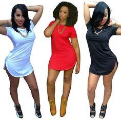 2017 Newly Design  Sexy & club o-neck Women Party Dresses Tops Short Sleeve Side Slit Casual T Shirt club dress Vestidos   #17