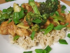 General Tsos Chicken. 471 calories per serving. 3/4 cup brown rice w/ 1 1/3 cup chicken/vegetable mixture