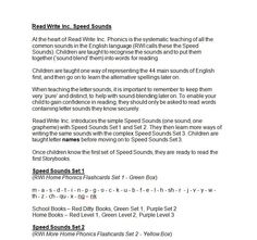 An information leaflet for parents that explains what the Read Write Inc. Speed Sounds are, the order in which they are taught and which sounds a child needs to know before reading the Read Write Inc Storybooks.