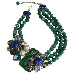 Philippe Ferrandis Lapis, Jasper, Agate, Glass Pearl and Crystal Necklace | From a unique collection of vintage choker-necklaces at https://www.1stdibs.com/jewelry/necklaces/choker-necklaces/