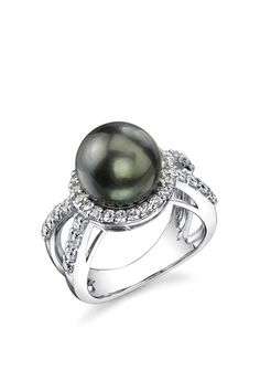 Always Polished: Sterling Silver 10mm Tahitian South Sea Pearl Ring
