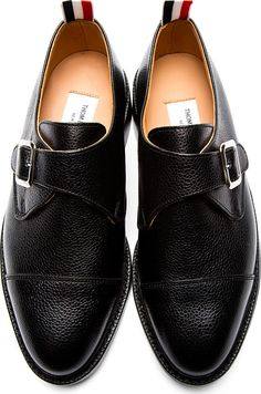 Thom Browne: Black Pebbled Leather Monk Buckle Shoes