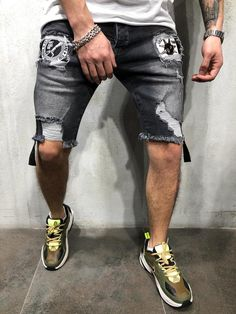 296c864a3df83b enslaved The Ripped Jean Shorts in Black