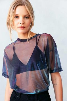 Silence + Noise Metallic Shimmer Mesh Tee - Urban Outfitters from Urban Outfitters. Saved to .. #urbanmoda