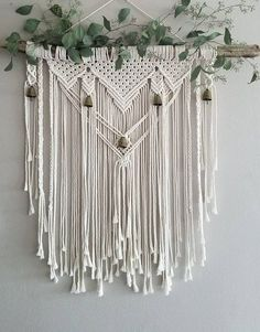 Macramé Wall Hanging With Bells - Whether you're drawn to rustic elegance or bohemian tapestry; this macramé wall hanging will add - Macrame Wall Hanging Patterns, Large Macrame Wall Hanging, Macrame Patterns, Macrame Wall Hanger, Macrame Wall Hangings, Hanging Plants, Hanging Crib, Diy Hanging, Macrame Design