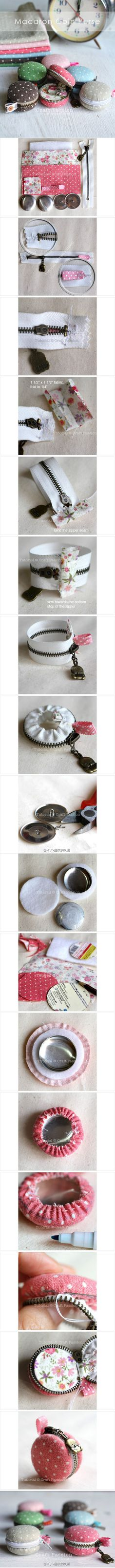 Macaron Coin purse tutorial.  This one is best as ring box or medicine box.... too small for coin purse.