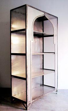 "Almidi etagere - $1400 (Metal mesh, 1"" flat iron. 58.5h x 35.5 x 16d)"
