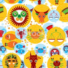 Funny seamless vector pattern with zodiac sign Royalty Free Stock Vector Art Illustration